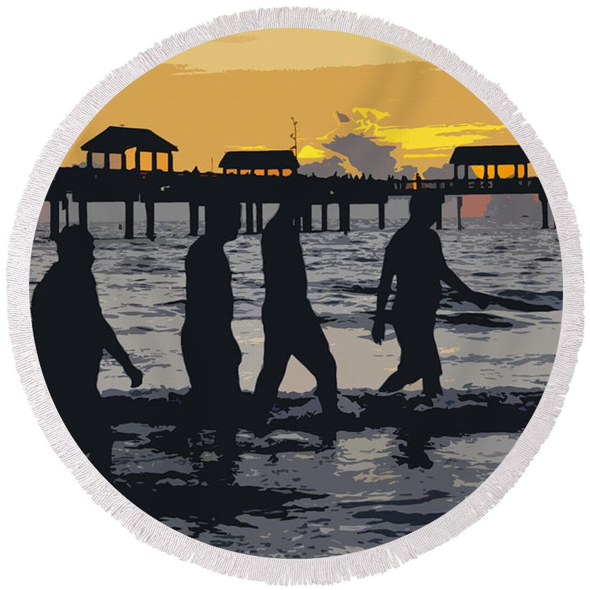 Men Round Beach Towel featuring the painting Summer At The Beach by David Lee Thompson