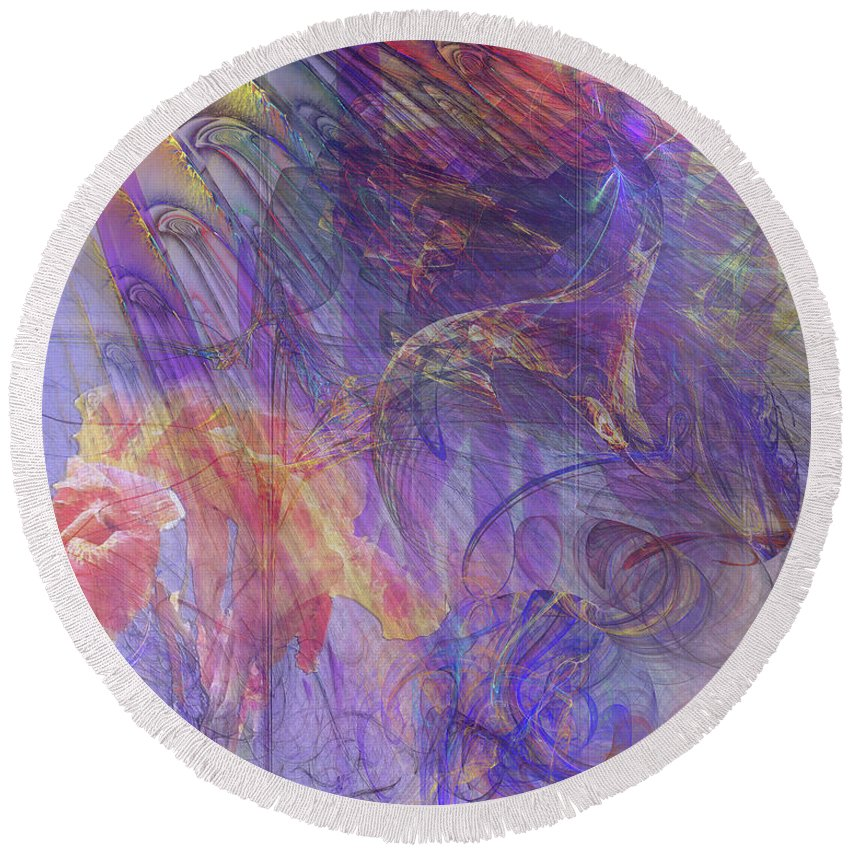 Summer Awakes Round Beach Towel featuring the digital art Summer Awakes by John Beck