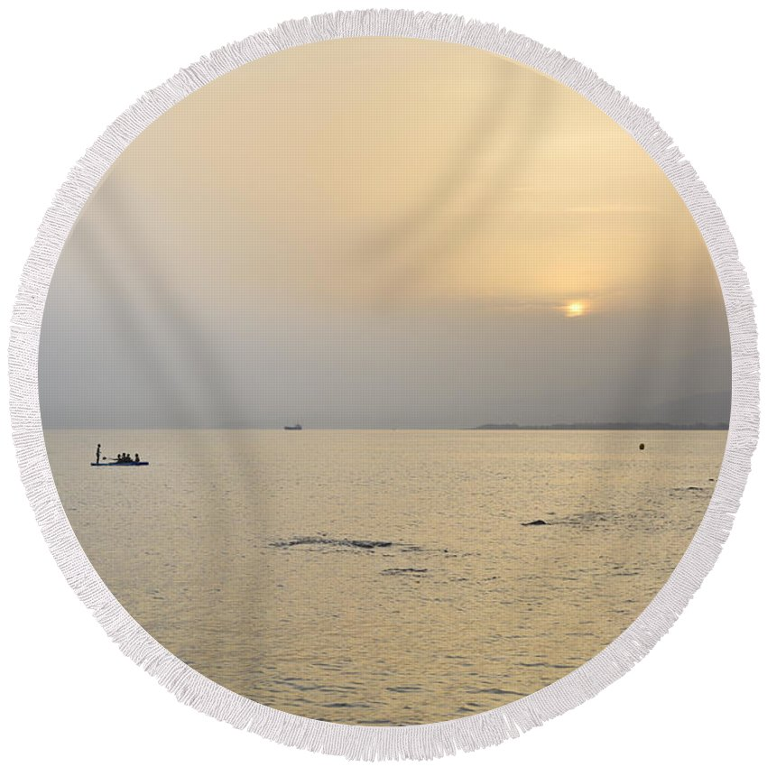Sunset Round Beach Towel featuring the photograph Summer Beach Dreams by Guido Montanes Castillo