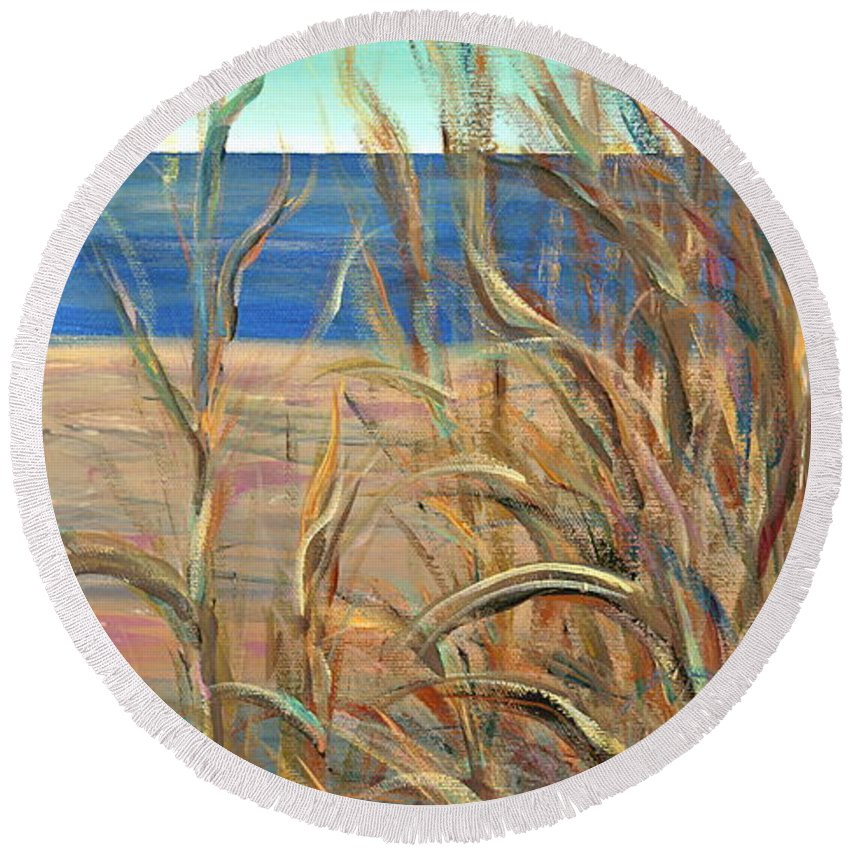 Grasses Round Beach Towel featuring the painting Summer Beach Grasses by Nadine Rippelmeyer