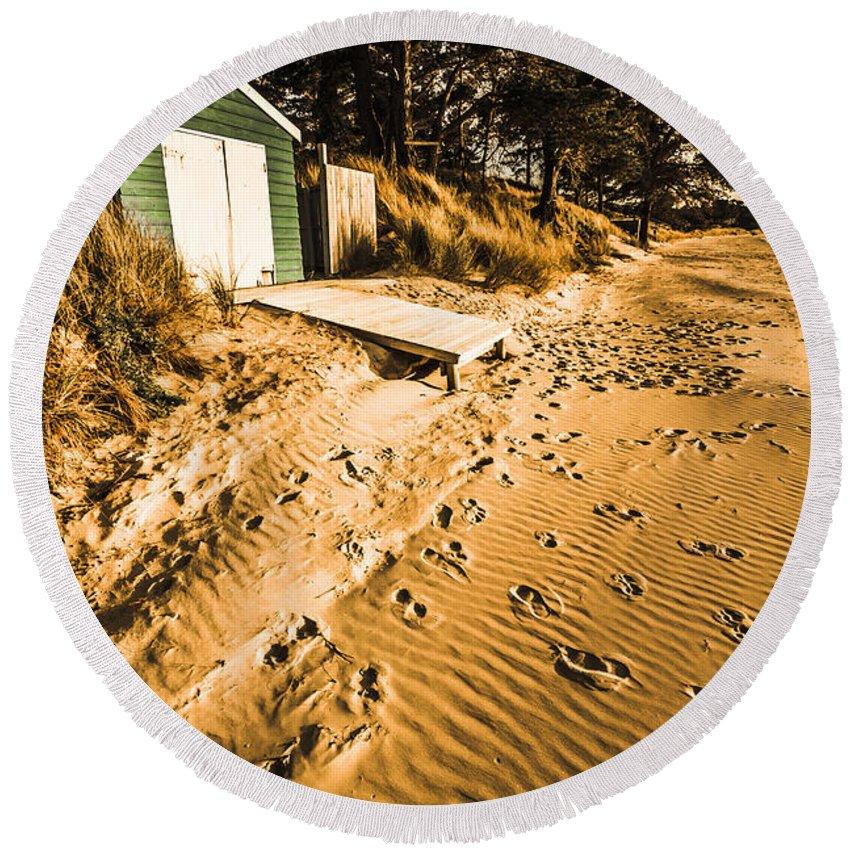 Calm Round Beach Towel featuring the photograph Summer Beach Shacks by Jorgo Photography - Wall Art Gallery