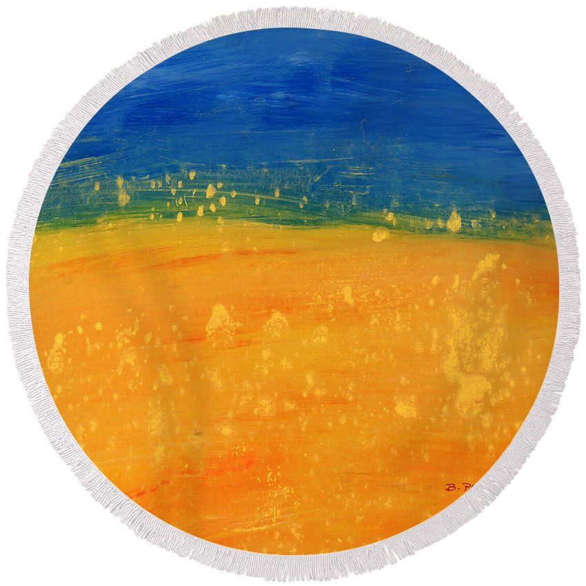Abstract Landscape Summer Fields Round Beach Towel featuring the digital art Summer by Betty Pehme