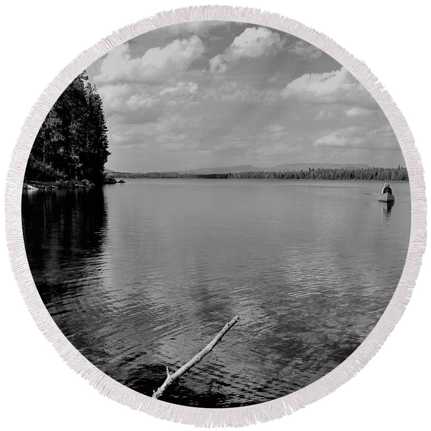 Black And White Landscape Round Beach Towel featuring the photograph Summer Bliss by Heidi Fickinger