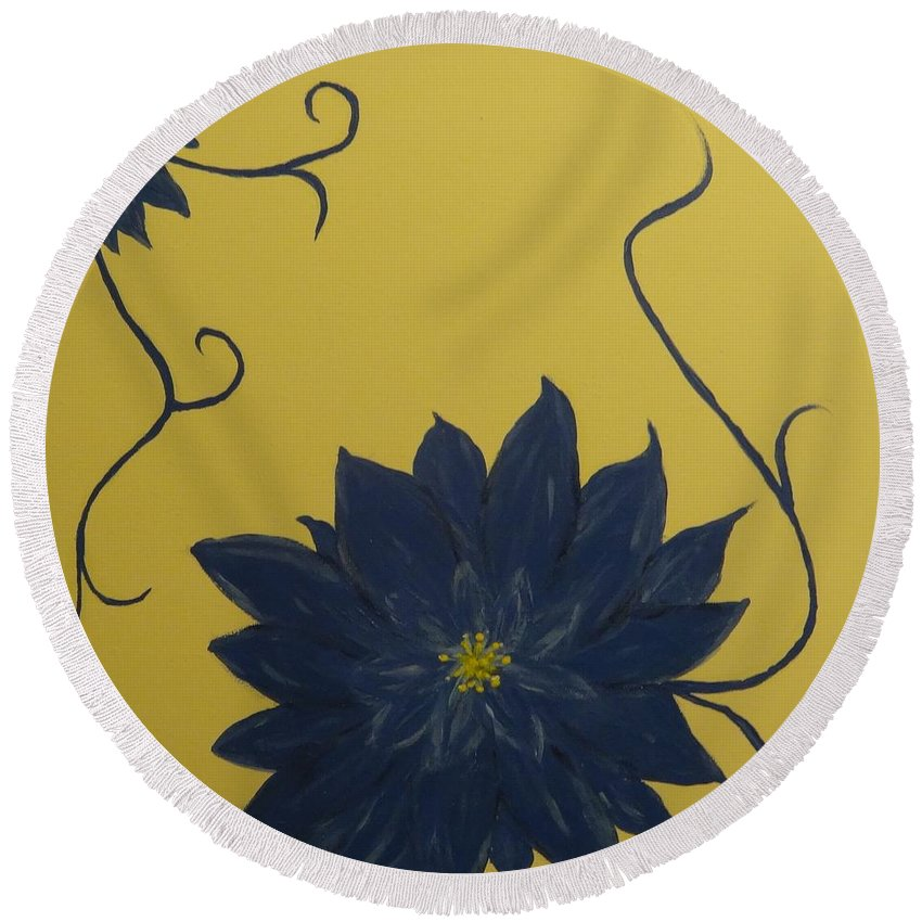 Flowers Round Beach Towel featuring the painting Summer Blooms by Laura Johnson