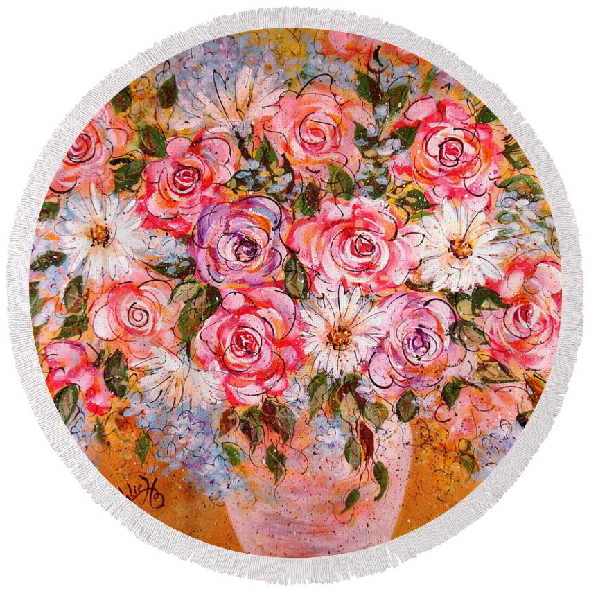 Flowers Round Beach Towel featuring the painting Summer Bouquet by Natalie Holland