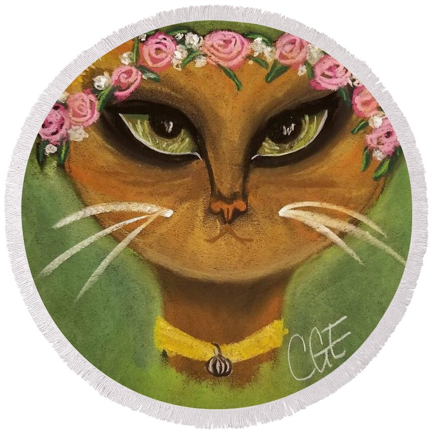 Summer Round Beach Towel featuring the pastel Summer Cat by Crystal Elswick