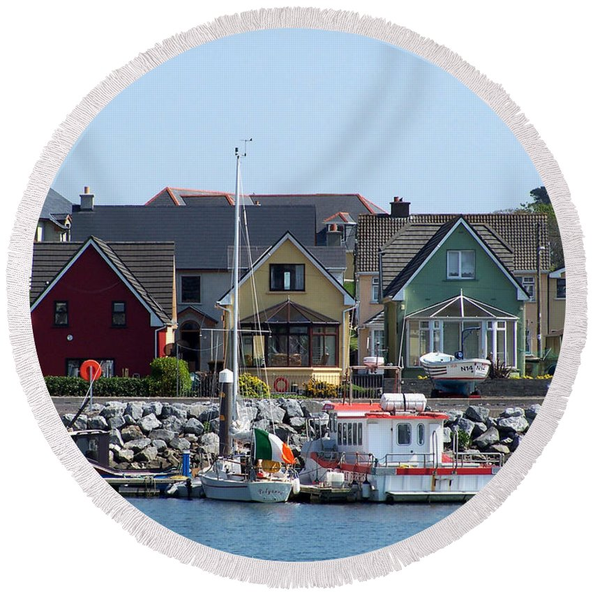 Irish Round Beach Towel featuring the photograph Summer Cottages Dingle Ireland by Teresa Mucha