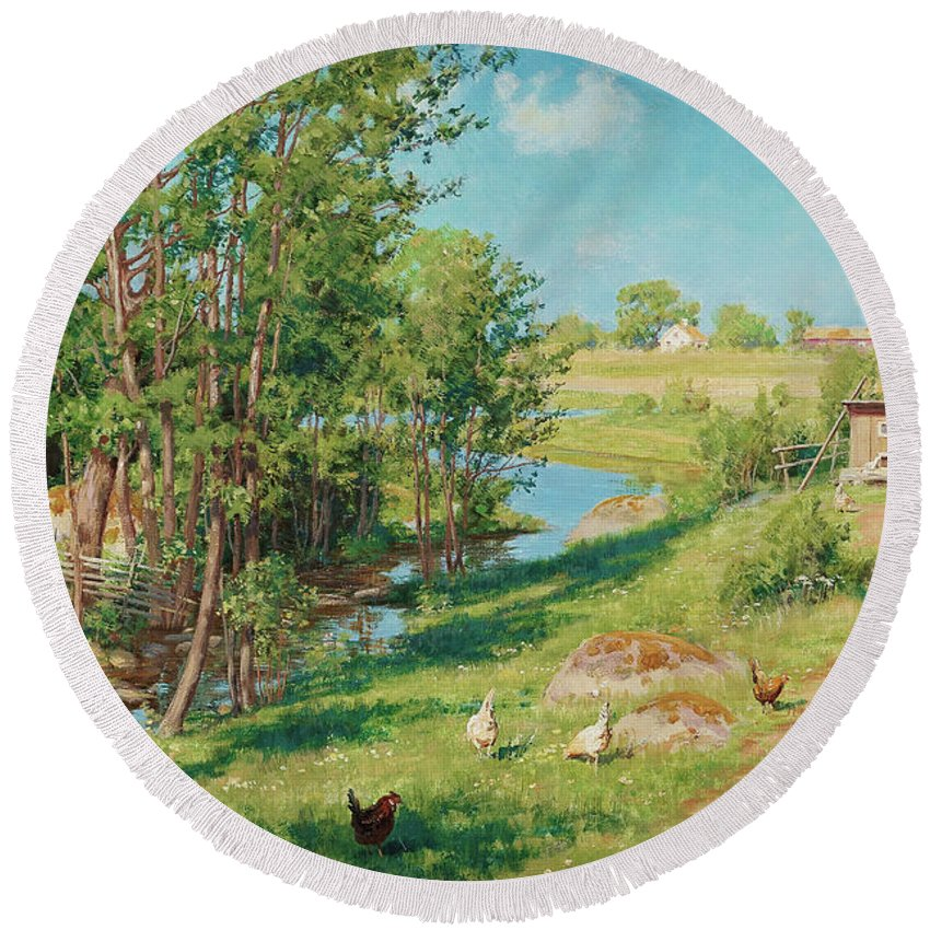 Johan Krouthen Round Beach Towel featuring the painting Summer Day By The Stream by Johan Krouthen