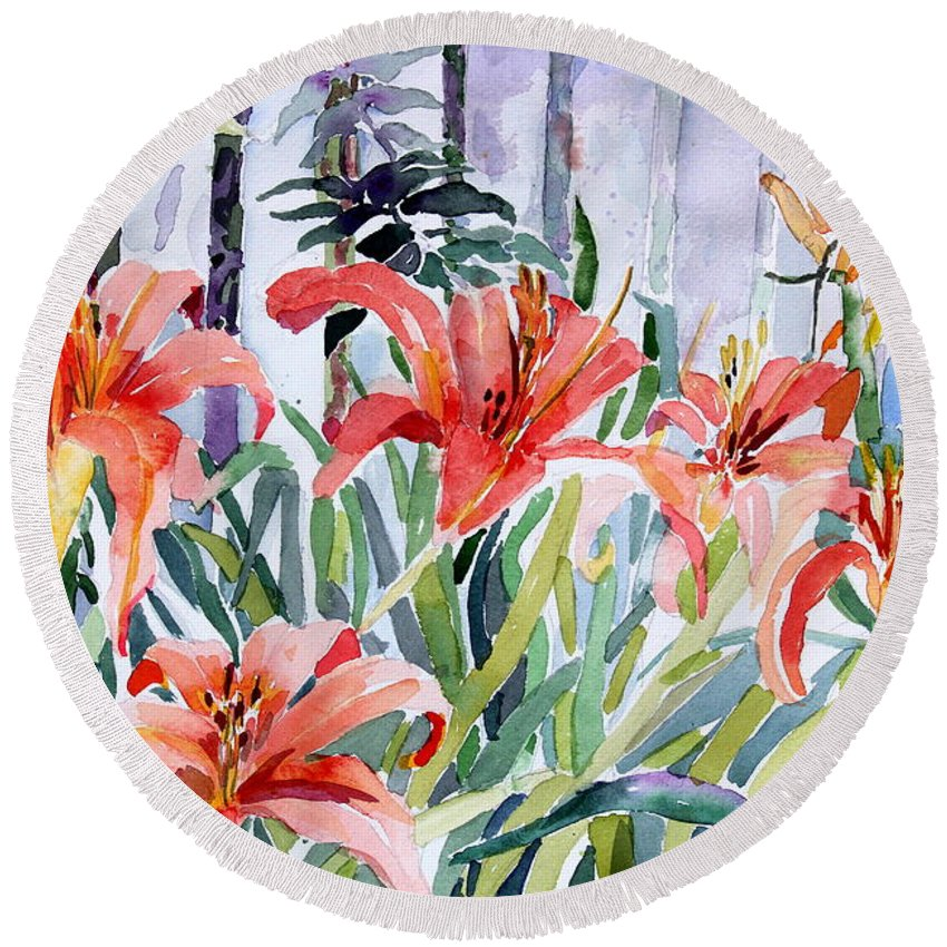 Day Lily Round Beach Towel featuring the painting My Summer Day Liliies by Mindy Newman