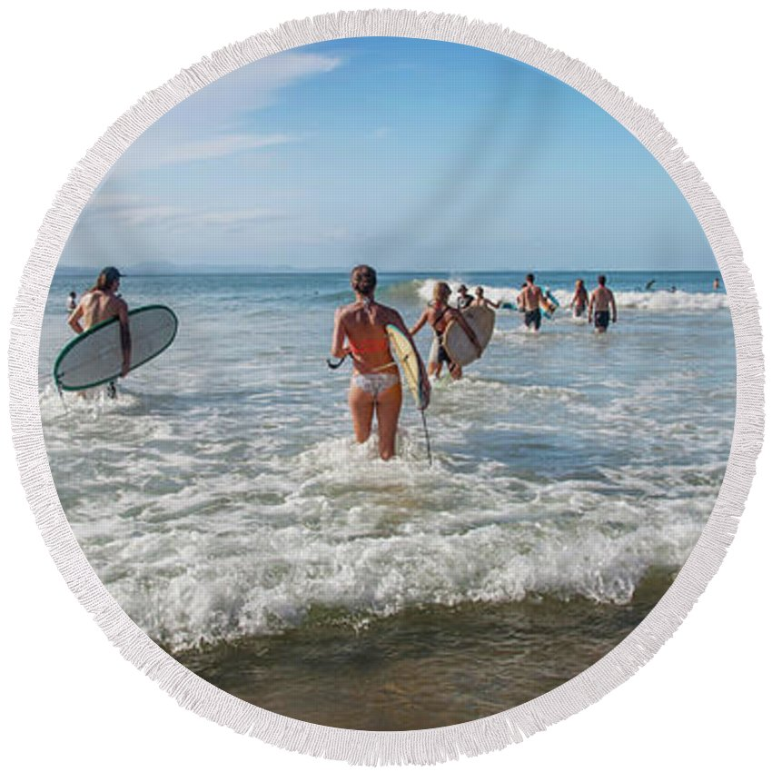 Australia Round Beach Towel featuring the photograph Summer Days Byron Waves by Az Jackson