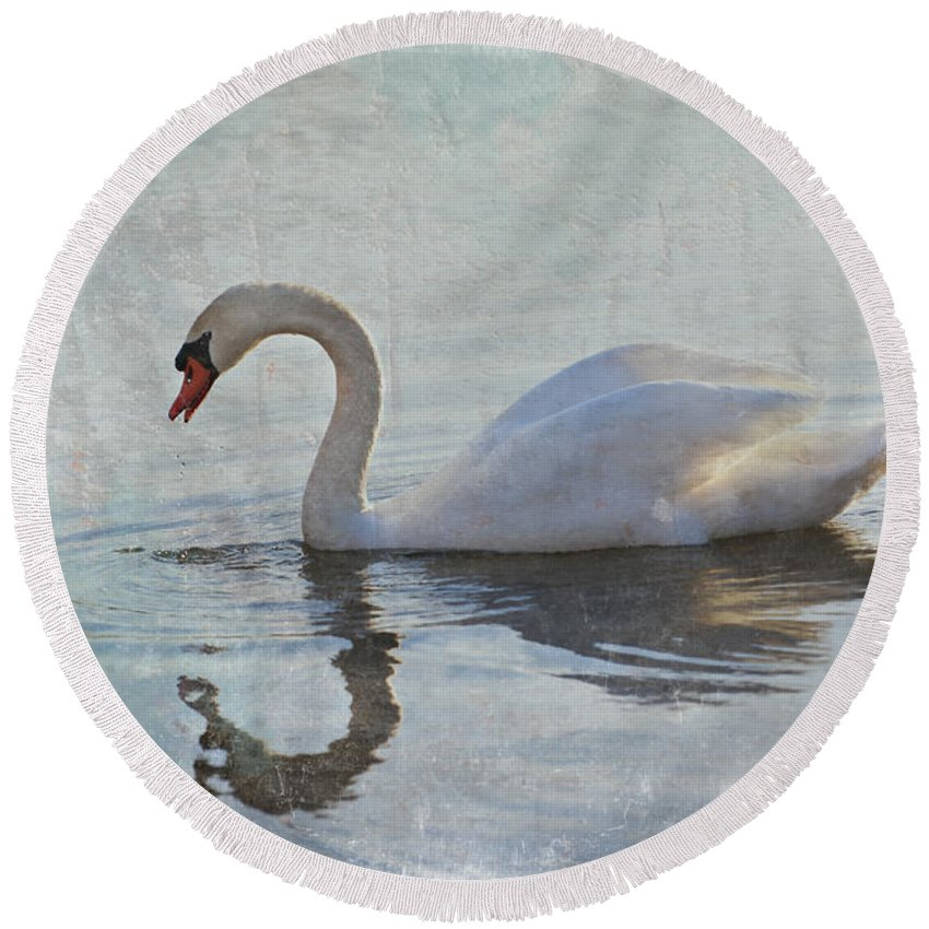 Swan Round Beach Towel featuring the photograph Summer Drift by Jill Love