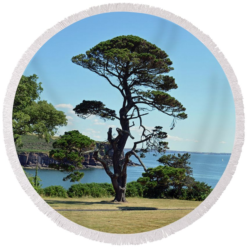 Dunmore East Round Beach Towel featuring the photograph Summer Dunmore East by Terence Davis