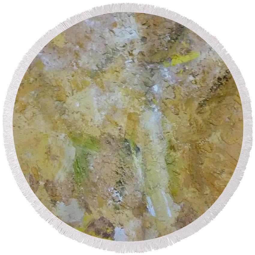Mixed Media Round Beach Towel featuring the mixed media Summer by Eleni Papakonstanti