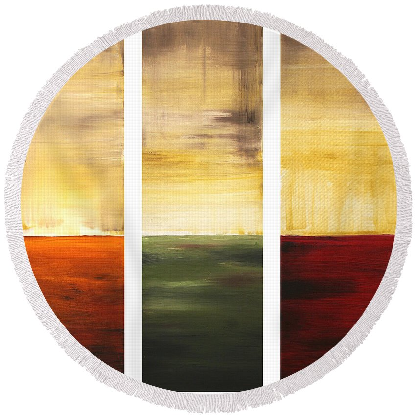Abstract Round Beach Towel featuring the painting Summer Fields By Madart by Megan Duncanson