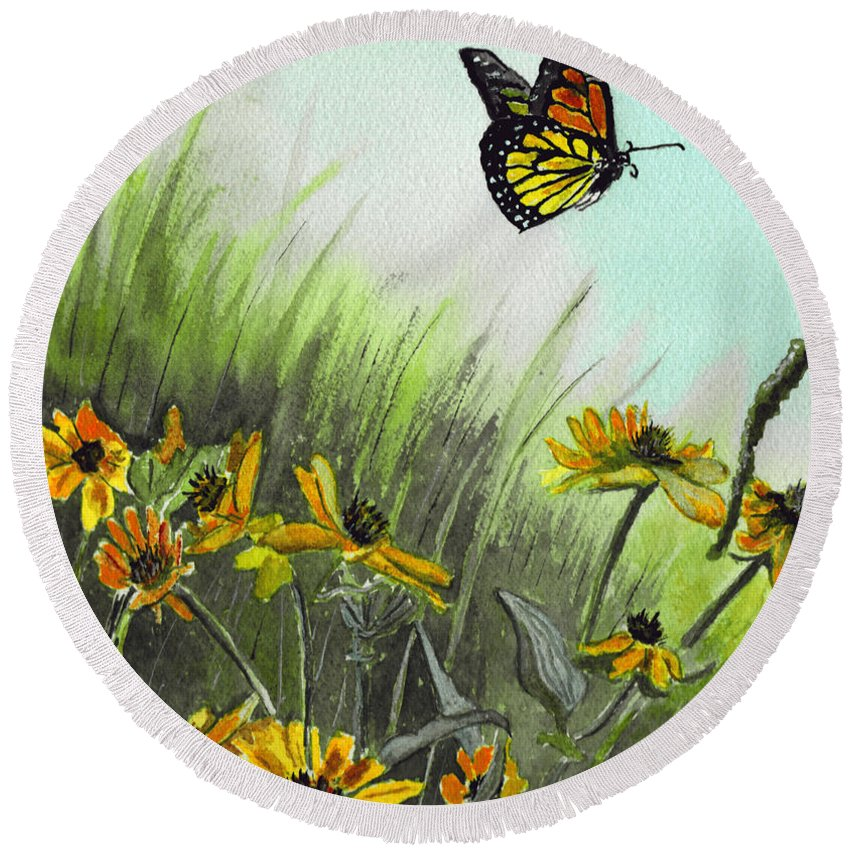 Landscape Round Beach Towel featuring the painting Summer Flight by Brenda Owen