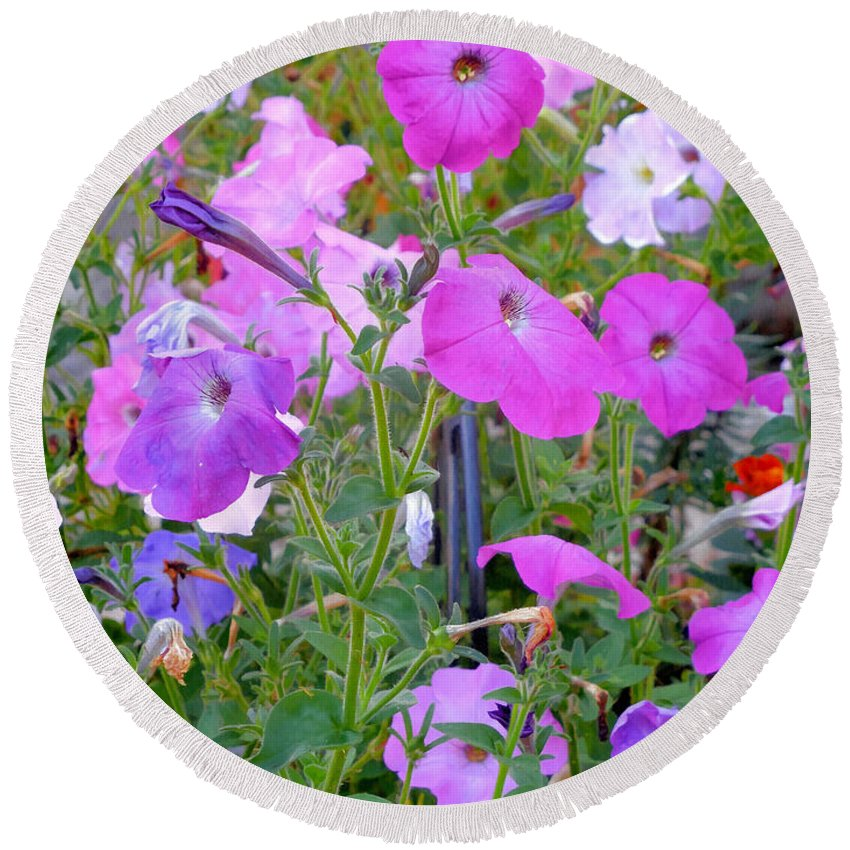 Summer Flowers Round Beach Towel featuring the painting Summer Flowers 8 by Jeelan Clark