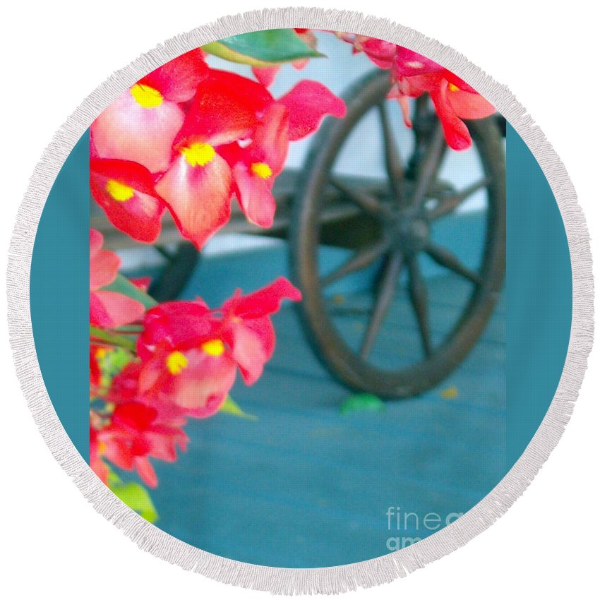 Flowers Round Beach Towel featuring the photograph Summer Flowers by Line Gagne