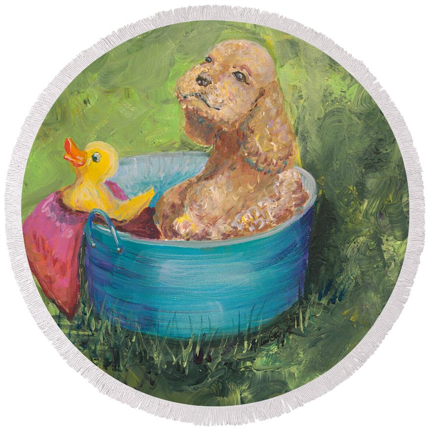 Dog Round Beach Towel featuring the painting Summer Fun by Nadine Rippelmeyer