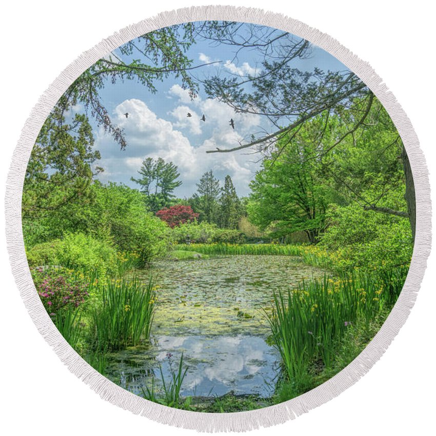 Nature Round Beach Towel featuring the photograph Summer Garden by June Marie Sobrito