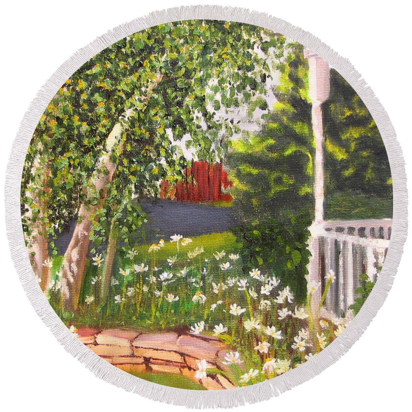 Daisies Round Beach Towel featuring the painting Summer Garden by Lea Novak