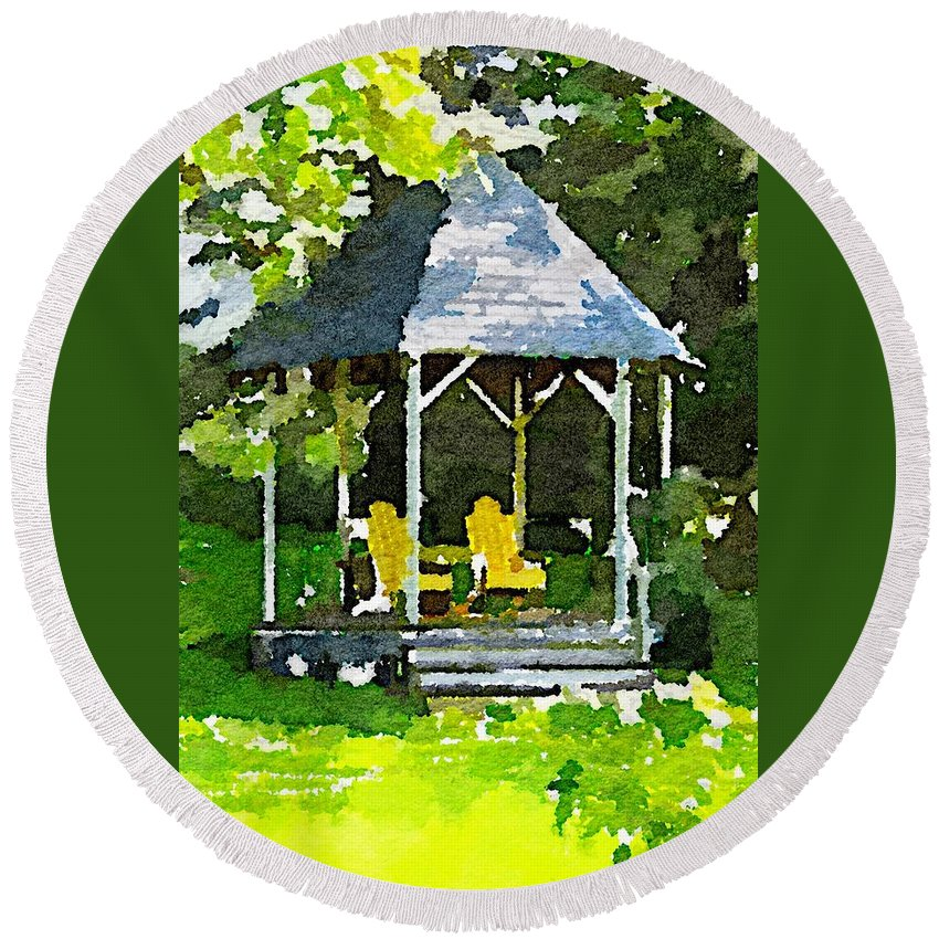 Summer Round Beach Towel featuring the painting Summer Gazebo With Yellow Chairs by Modern Art