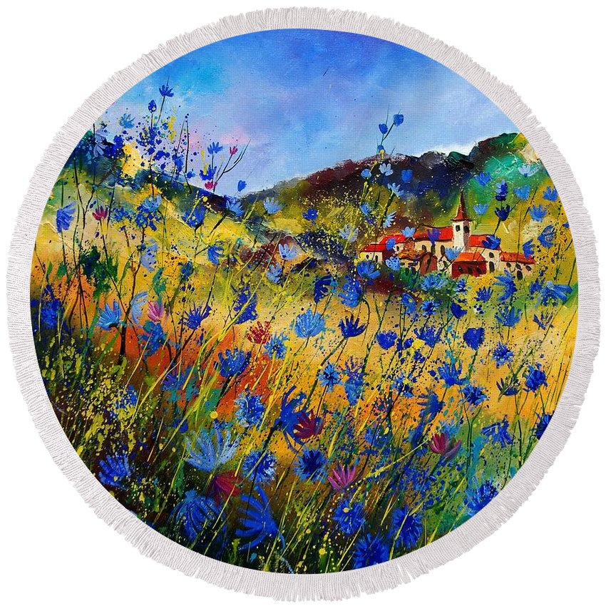 Flowers Round Beach Towel featuring the painting Summer Glory by Pol Ledent