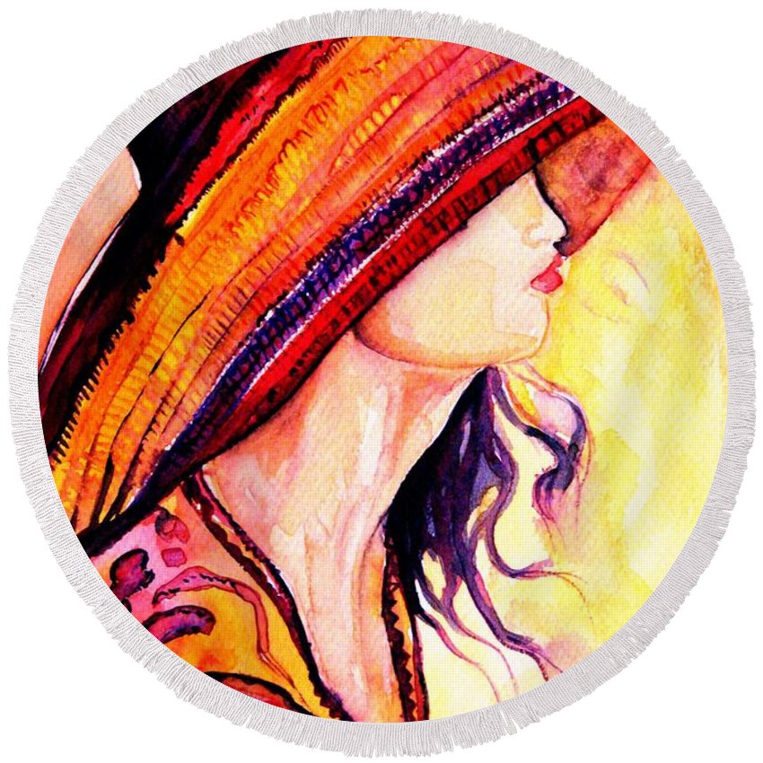 Elegant Lady Round Beach Towel featuring the painting Summer Hat by Carole Spandau