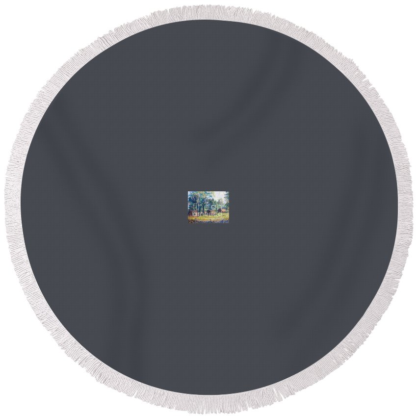Landscape Round Beach Towel featuring the painting Summer Idyll by Jan Bennicoff