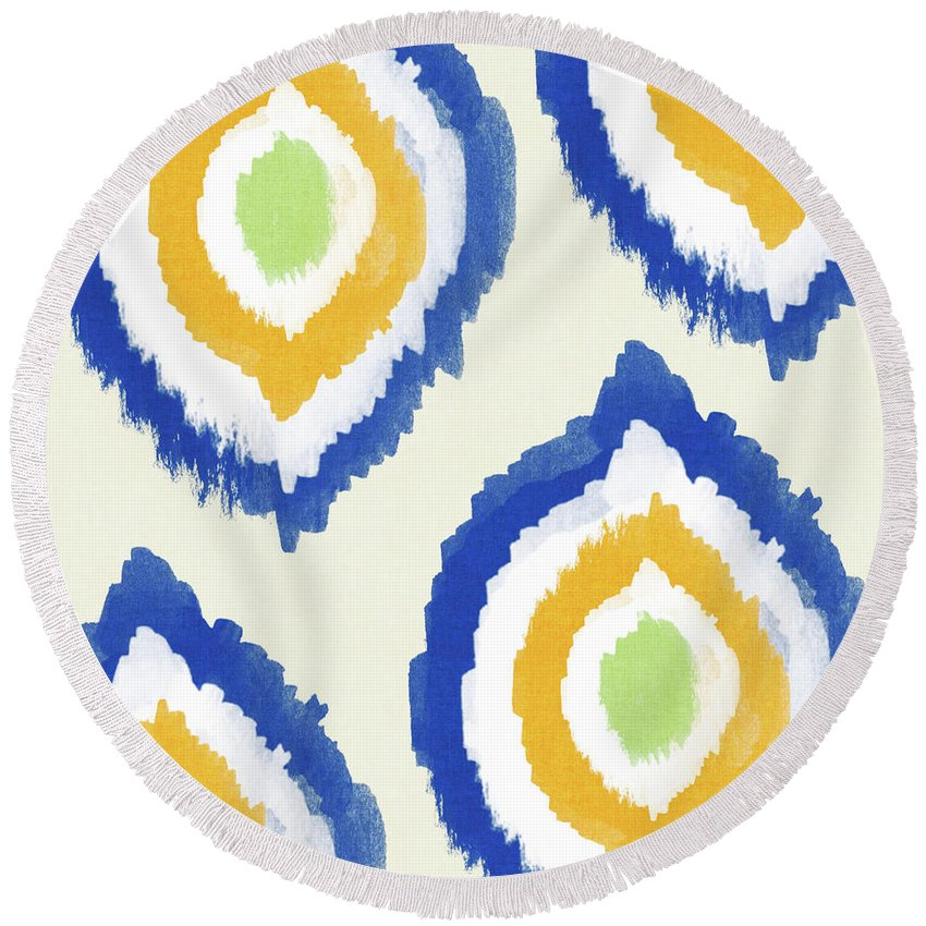 Blue Round Beach Towel featuring the painting Summer Ikat- Art By Linda Woods by Linda Woods
