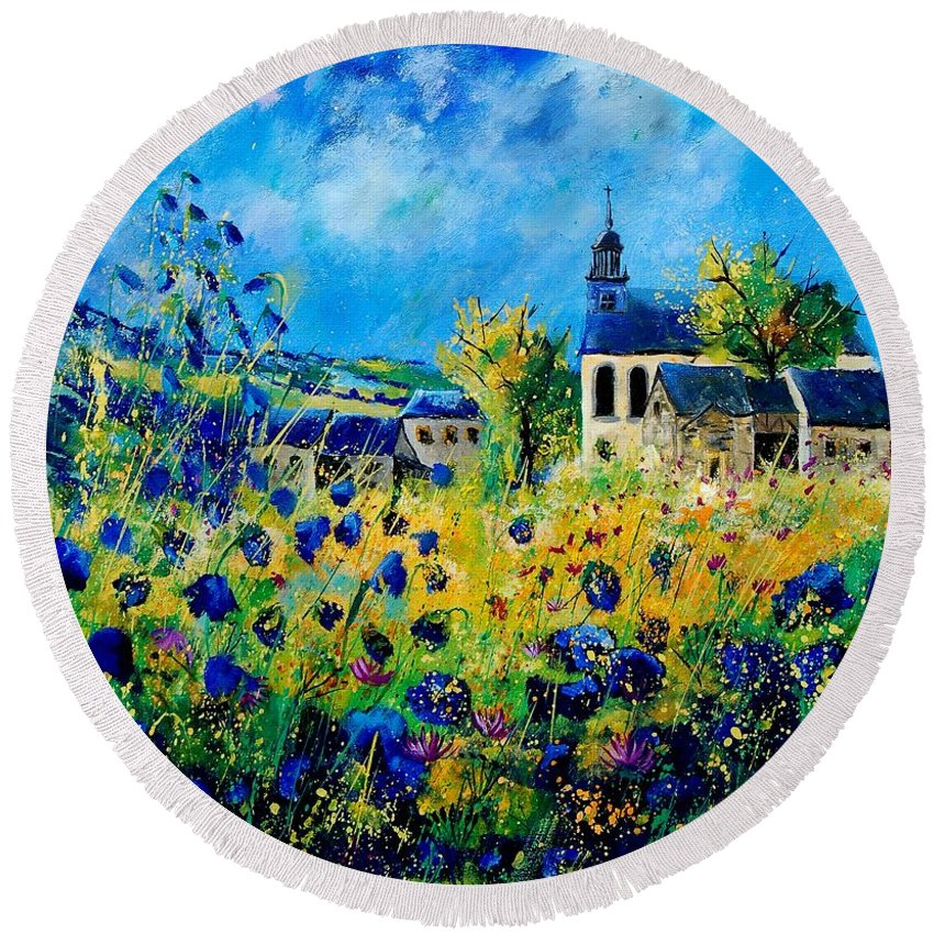 Poppies Round Beach Towel featuring the painting Summer In Foy Notre Dame by Pol Ledent