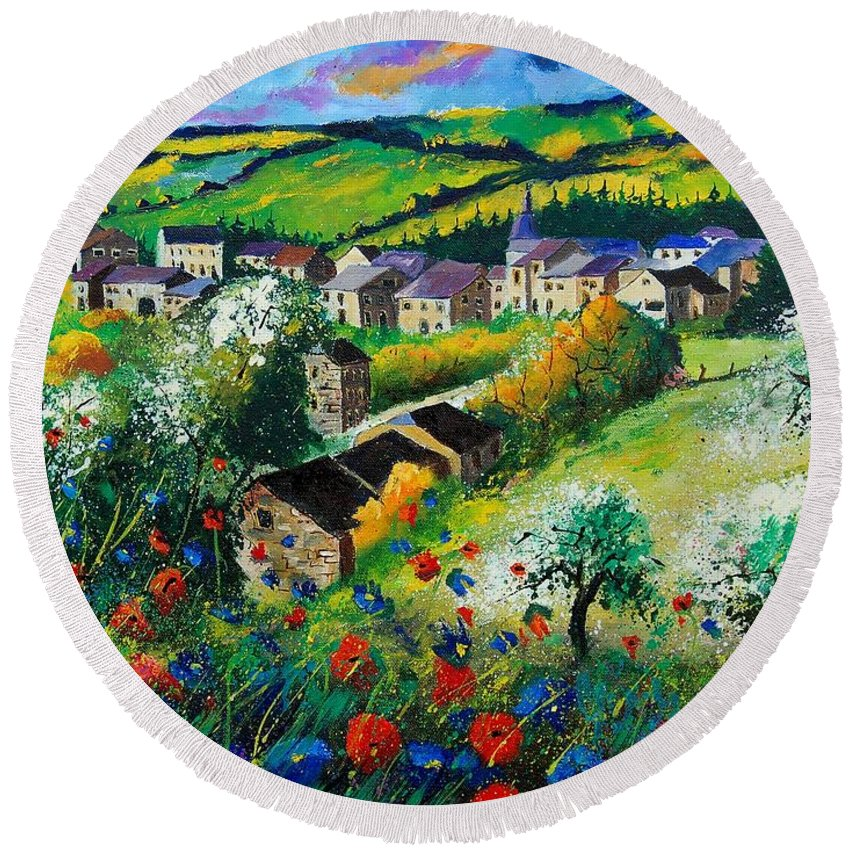 Poppies Round Beach Towel featuring the painting Summer In Rochehaut by Pol Ledent