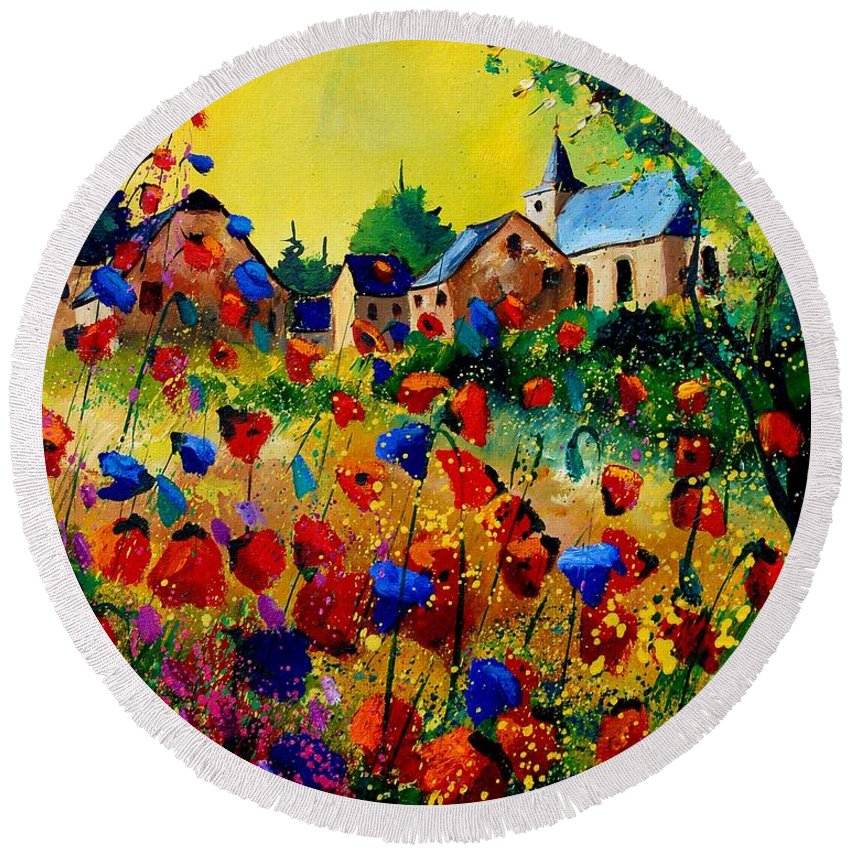 Poppy Round Beach Towel featuring the painting Summer In Sosoye by Pol Ledent