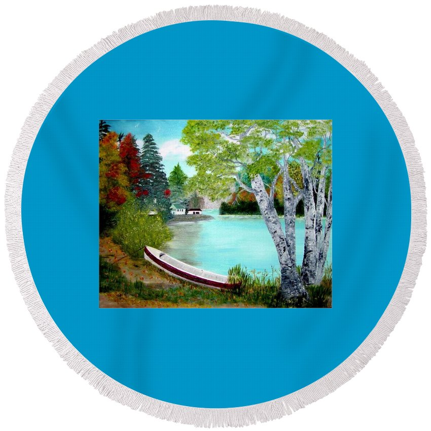 Beautiful Bracebridge Ontario Oil Painting Round Beach Towel featuring the painting Summer In The Muskoka's by Peggy Holcroft