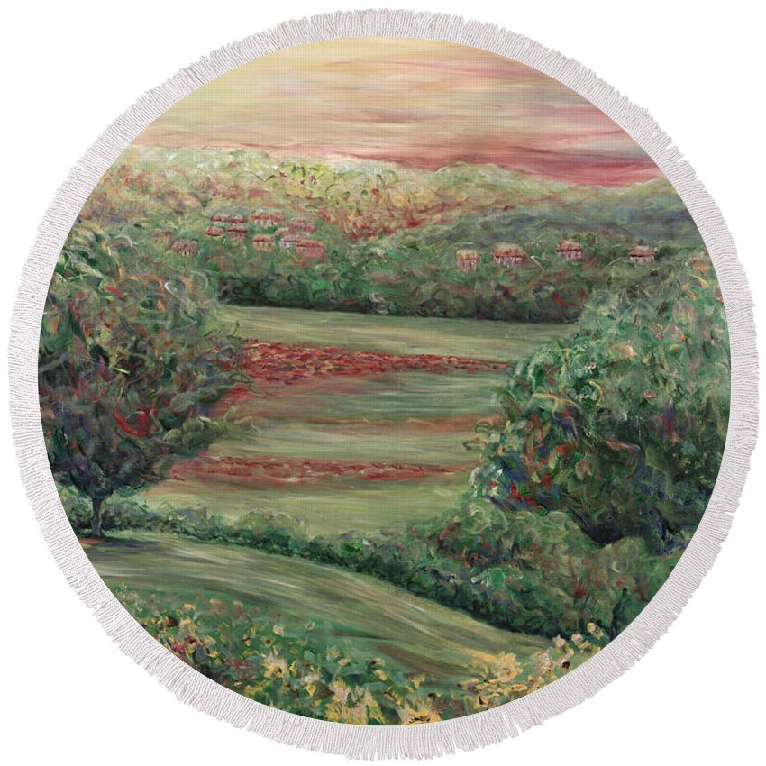 Landscape Round Beach Towel featuring the painting Summer In Tuscany by Nadine Rippelmeyer