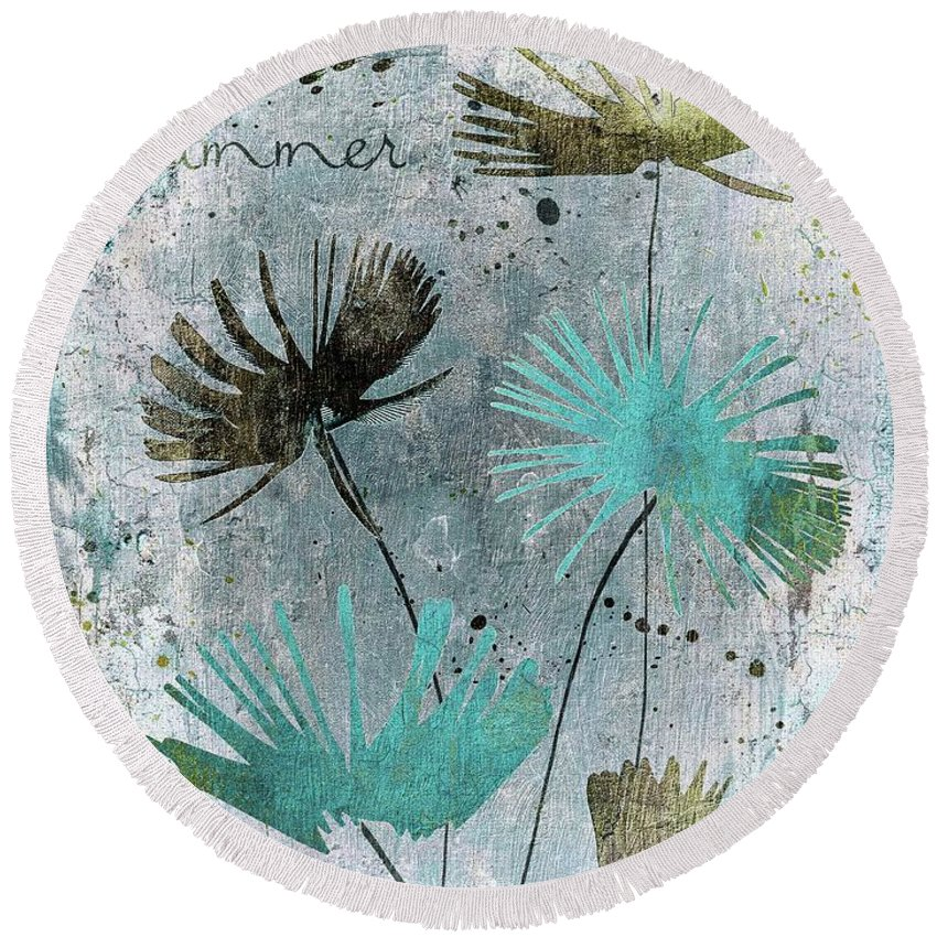 Floral Round Beach Towel featuring the digital art Summer Joy - 10 by Variance Collections