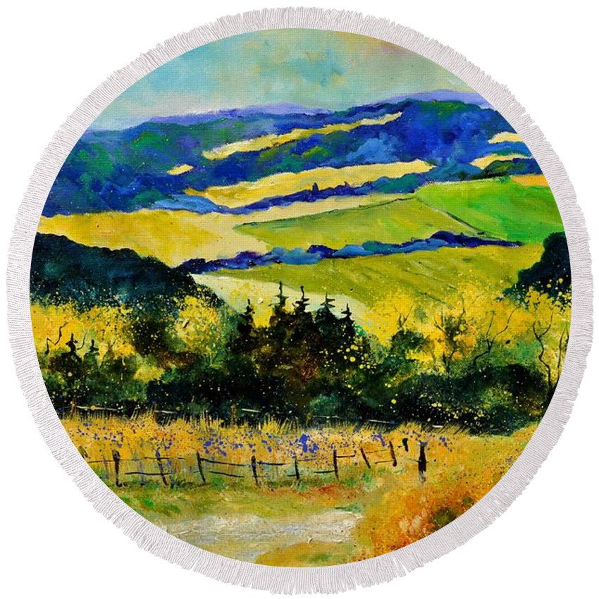 Landscape Round Beach Towel featuring the painting Summer Landscape by Pol Ledent