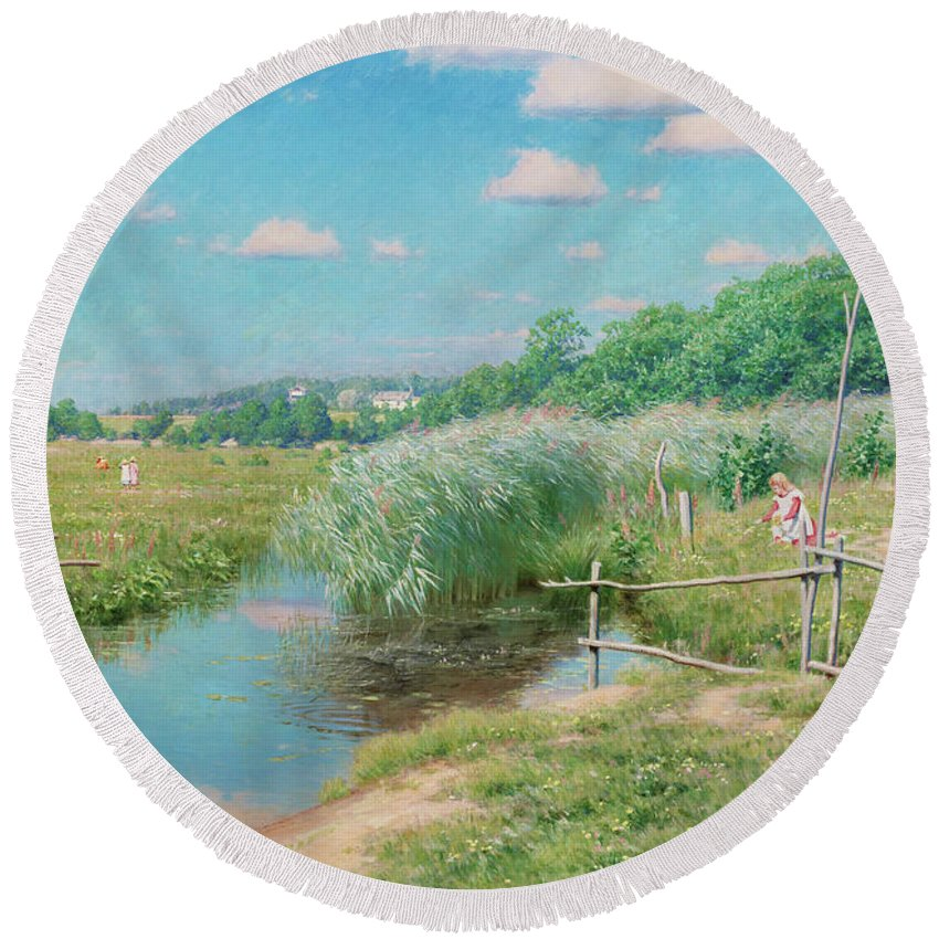 Johan Krouthen Round Beach Towel featuring the painting Summer Landscape With Children by Johan Krouthen