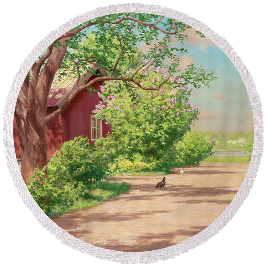 Johan Krouthen Round Beach Towel featuring the painting Summer Landscape With Hens by Johan Krouthen