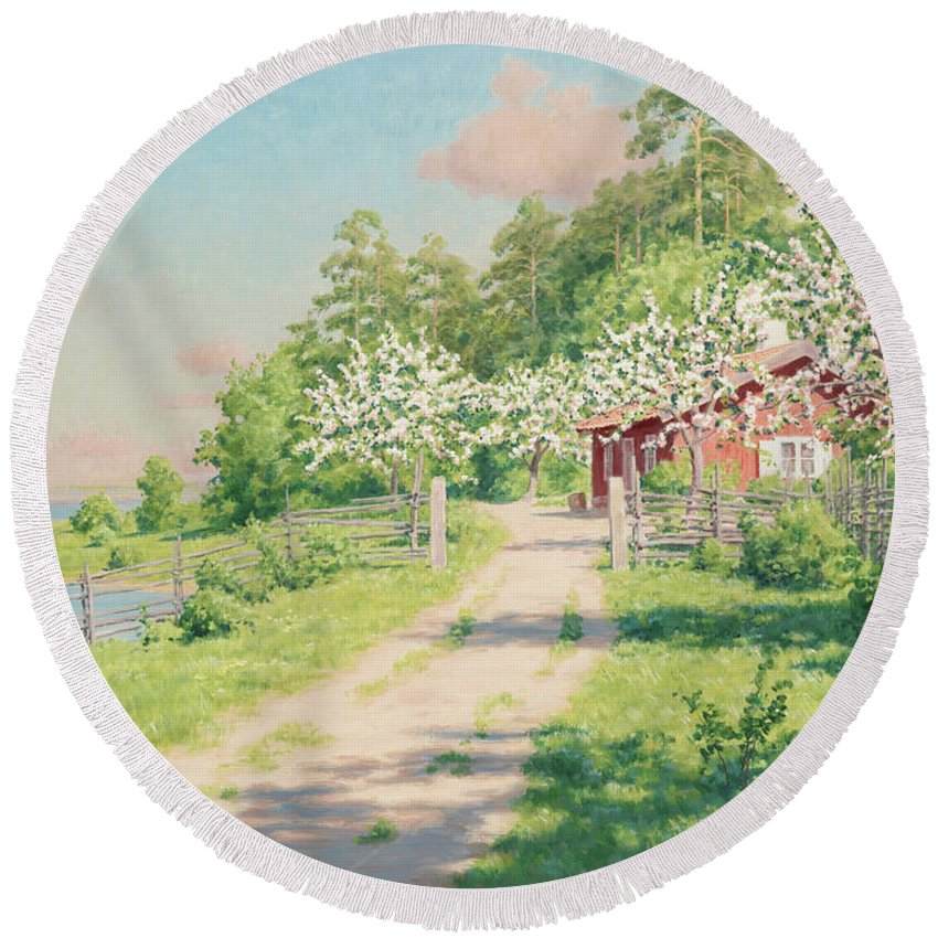 Johan Krouthen Round Beach Towel featuring the painting Summer Landscape With House by Johan Krouthen