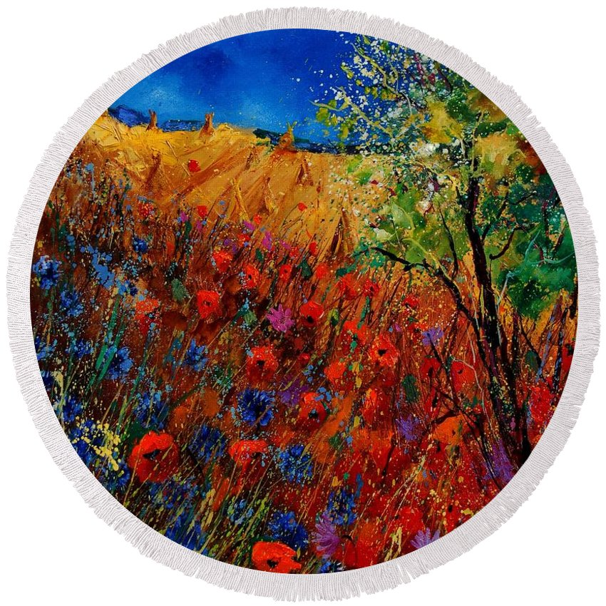 Flowers Round Beach Towel featuring the painting Summer landscape with poppies by Pol Ledent