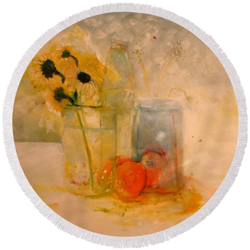 Daisey Round Beach Towel featuring the painting Summer Light by Jack Diamond