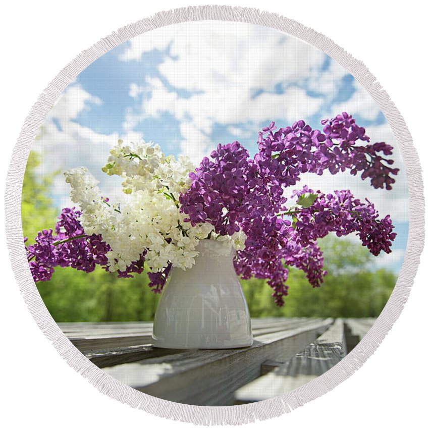 Flowers Round Beach Towel featuring the photograph Summer Lilacs by Sue Collura