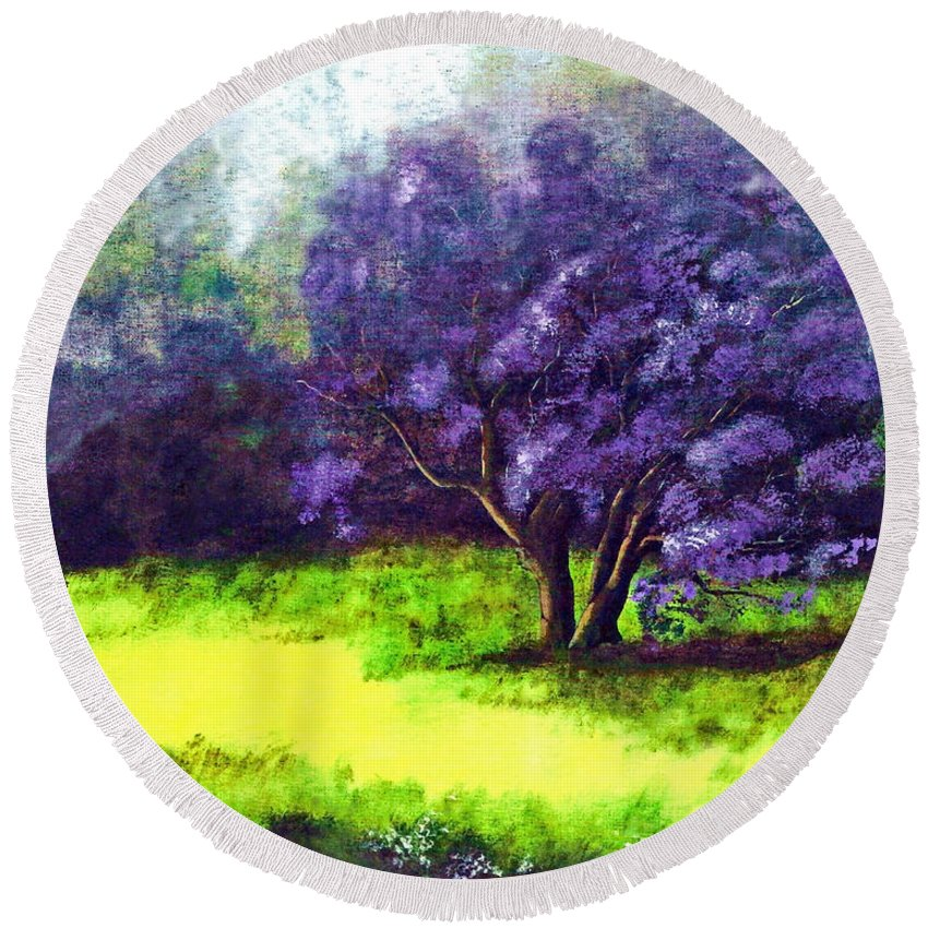 Fine Art Print Round Beach Towel featuring the painting Summer Mist by Patricia Griffin Brett
