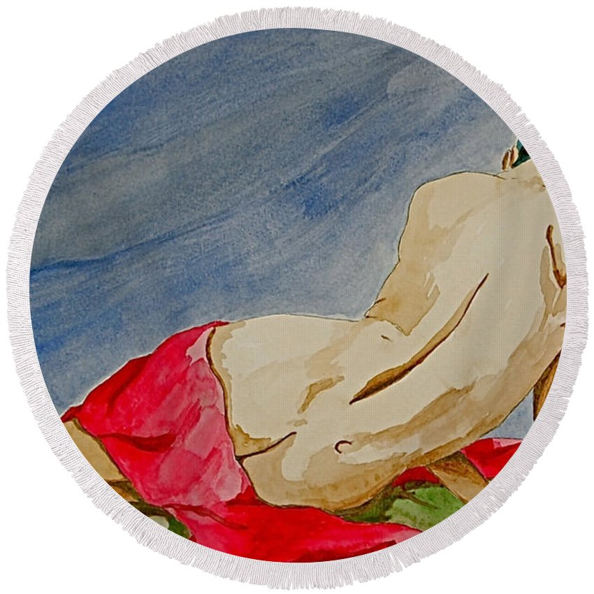 Nudes Red Cloth Round Beach Towel featuring the painting Summer Morning 2 by Herschel Fall