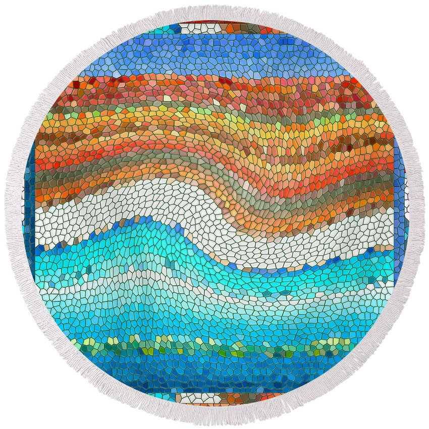 Colorful Round Beach Towel featuring the digital art Summer Mosaic by Melissa A Benson