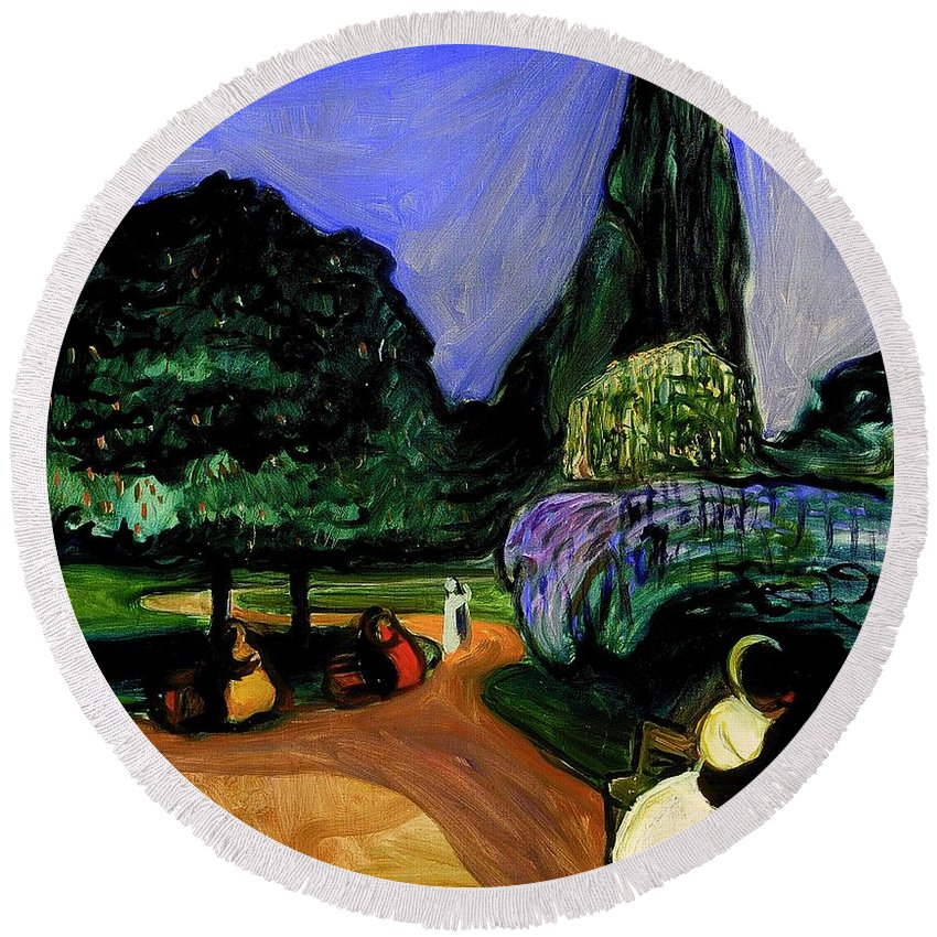 Painting Round Beach Towel featuring the painting Summer Night At Studenterlunden by Mountain Dreams