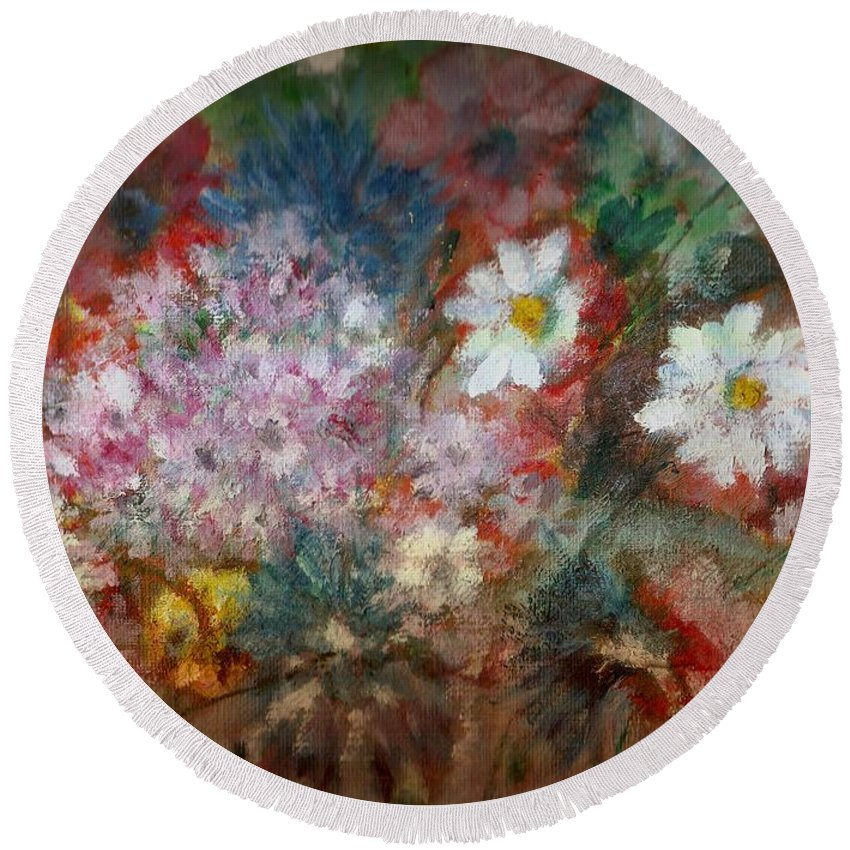 Poppies Round Beach Towel featuring the painting Summer Night by Pepita Selles