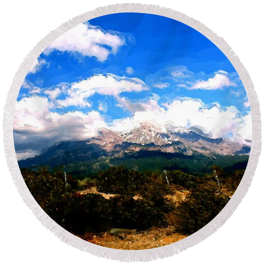 Summer On Mt. Shasta Round Beach Towel featuring the painting Summer On Mt. Shasta by Methune Hively