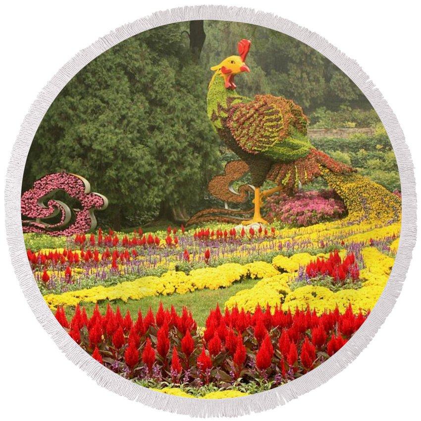 Phoenix Symbol Of Empress Round Beach Towel featuring the photograph Summer Palace Flower Phoenix by Carol Groenen