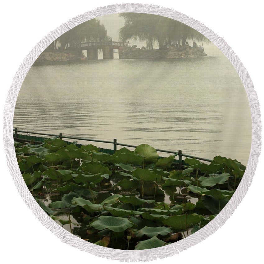 Summer Palace Round Beach Towel featuring the photograph Summer Palace Serenity by Carol Groenen